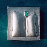 Hausaltarbild IV  935 Silber, Opal, Holz, Gouache ziseliert, Ausschnitt.